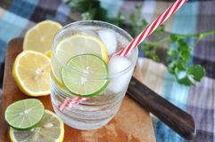 Fresh cool drink with lime Royalty Free Stock Images