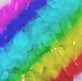Fresh cool rainbow ice cube background Stock Photos