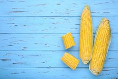 Fresh corn on a blue wooden table stock image