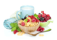 Fresh corn flakes with berries and milk Stock Photography