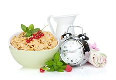 Fresh corn flakes with berries Stock Image