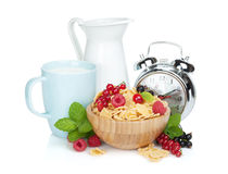 Fresh corn flakes with berries Stock Photos