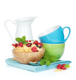 Fresh corn flakes with berries Royalty Free Stock Image