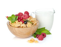 Fresh corn flakes with berries Stock Images