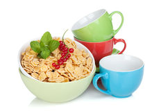Fresh corn flakes with currant Stock Image