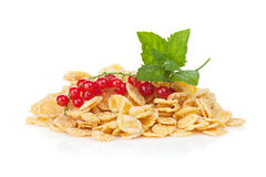 Fresh corn flakes heap with berries Stock Photo