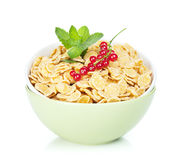 Fresh corn flakes with red currant Royalty Free Stock Image