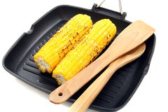 Fresh corn on the grill pan. Royalty Free Stock Photography