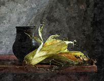Fresh corn on a rustic table. Rustic still-life. Painting wet watercolor on paper. Naive art. Abstract art. Drawing watercolor on paper stock photo