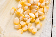 Fresh corn on rustic wooden table, closeup. Ear of corn stock images