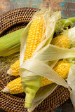 Fresh corn on rustic wooden table, closeup Stock Photography