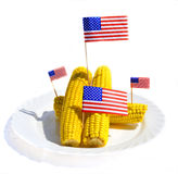 FRESH CORN WITH US FLAGS Royalty Free Stock Images