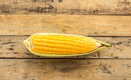 Fresh corn on wooden table background Stock Photo