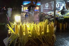 Fresh Corns Cart and Light  in Night Time Outside 2017 Istanbul Turkey. Fresh Corns Cart and Light  in Night Time Outside Istanbul Turkey 2017 Royalty Free Stock Photos