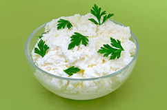 Fresh cottage cheese Royalty Free Stock Photos