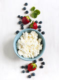 Fresh cottage cheese and berries for healthy eating Stock Photos