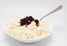 Fresh cottage cheese in the bowl Stock Images
