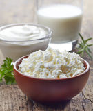 Fresh cottage cheese and dairy products Royalty Free Stock Image