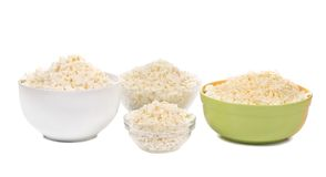 Fresh  Cottage cheese glass bowl Royalty Free Stock Photography