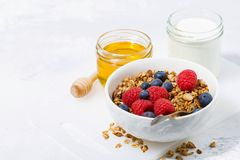 Fresh cottage cheese with granola and honey Royalty Free Stock Photos