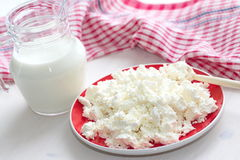 Fresh cottage cheese and milk Stock Photos