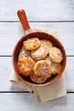 Fresh cottage cheese pancake pan Stock Photos