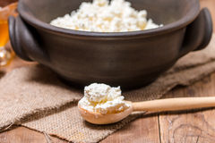 Fresh cottage cheese in a wooden spoon Stock Photo