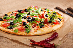 Fresh country style pizza. Stock Image