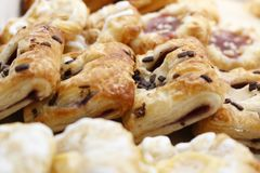 Fresh Chocolate Croissant. Fresh couple Chocolate Croissants, closing picture in bakery store Royalty Free Stock Images