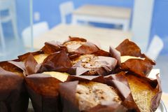 Fresh Maffins. Fresh couple muffins, closing picture in bakery store Stock Image