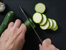 Fresh Courgette Being Sliced. Courgette Being Sliced. Selective Focus Royalty Free Stock Photos