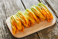 Fresh courgette flowers Royalty Free Stock Photos