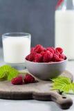 Fresh cow milk and ripe organic red raspberry Royalty Free Stock Image