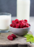 Fresh cow milk and ripe organic red raspberry Stock Photos