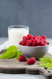 Fresh cow milk and ripe organic red raspberry Royalty Free Stock Photography