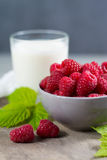 Fresh cow milk and ripe organic red raspberry Royalty Free Stock Photo
