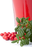 Fresh cowberry and berry juice glass Royalty Free Stock Photos