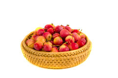 Fresh crab apples in wooden plate isolated on white Royalty Free Stock Photography