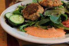 Fresh crab cakes on salad greens Stock Photography