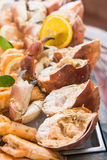 Fresh crab on ice in buffet line seafood Royalty Free Stock Image
