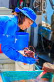 Fresh crab on sale by the fishing harbor in Half Moon Bay Califo Royalty Free Stock Photos