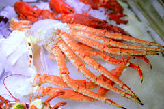 Fresh crab seafood on ice. Closeup image of fresh and delicious crab seafood on ice cubes Royalty Free Stock Images