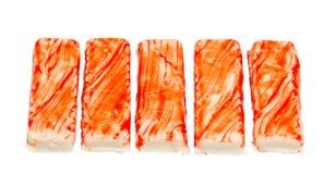 Crab sticks, isolated on white. Fresh crab sticks, isolated on white background royalty free stock images