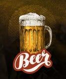 Fresh craft beer in glass mug. Vintage poster for cold ale. Vector illustration. Fresh craft beer. Vintage poster for cold ale. Vector illustration royalty free illustration