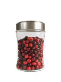 Fresh Cranberries. In Glass Container Isolated on White stock photo