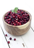 Fresh cranberries in bowl. Cranberries with leaf and flowers in a wooden bowl on white stock image