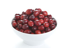 Fresh cranberries in a white bowl Stock Photos