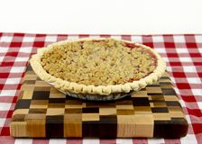 Fresh Cranberry Pie. On a checkered table cloth royalty free stock photography