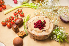 Fresh cranberry on wooden background. The restaurant on the table Royalty Free Stock Photography