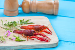 Fresh crayfish on wood Royalty Free Stock Photography